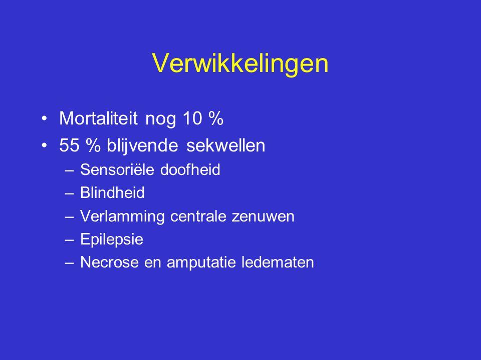 Verwikkelingen Mortaliteit nog 10 % 55 % blijvende sekwellen –Sensoriële doofheid –Blindheid –Verlamming centrale zenuwen –Epilepsie –Necrose en amput