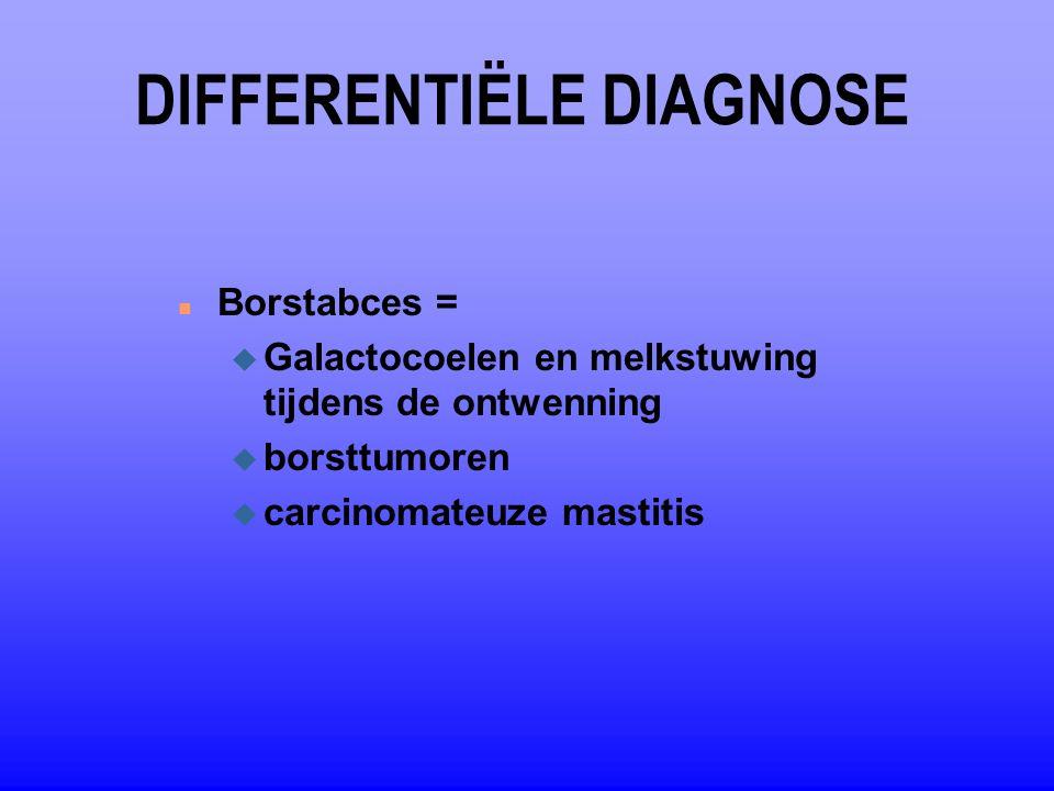 DIFFERENTIËLE DIAGNOSE n Borstabces = u Galactocoelen en melkstuwing tijdens de ontwenning u borsttumoren u carcinomateuze mastitis