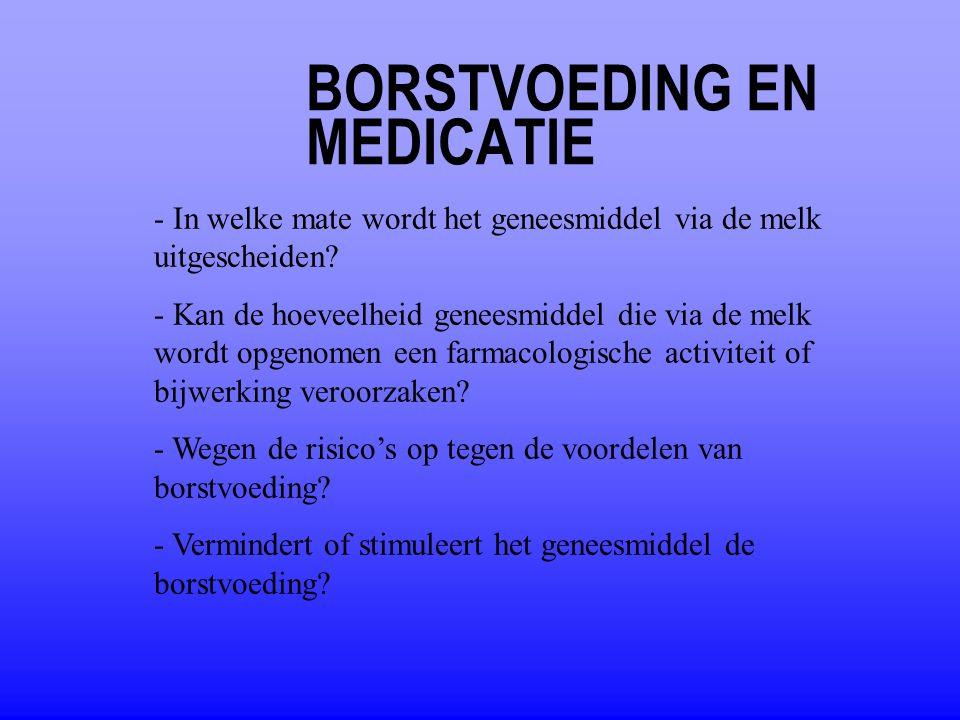 BORSTVOEDING EN MEDICATIE - In welke mate wordt het geneesmiddel via de melk uitgescheiden? - Kan de hoeveelheid geneesmiddel die via de melk wordt op