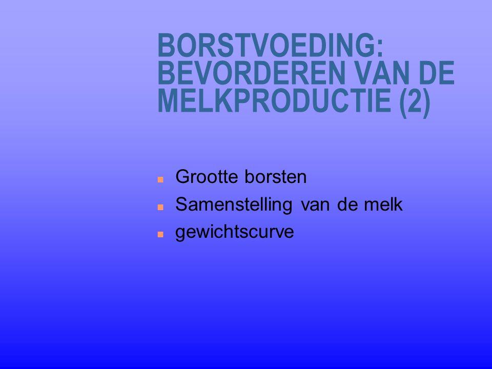 BORSTVOEDING: BEVORDEREN VAN DE MELKPRODUCTIE (2) n Grootte borsten n Samenstelling van de melk n gewichtscurve