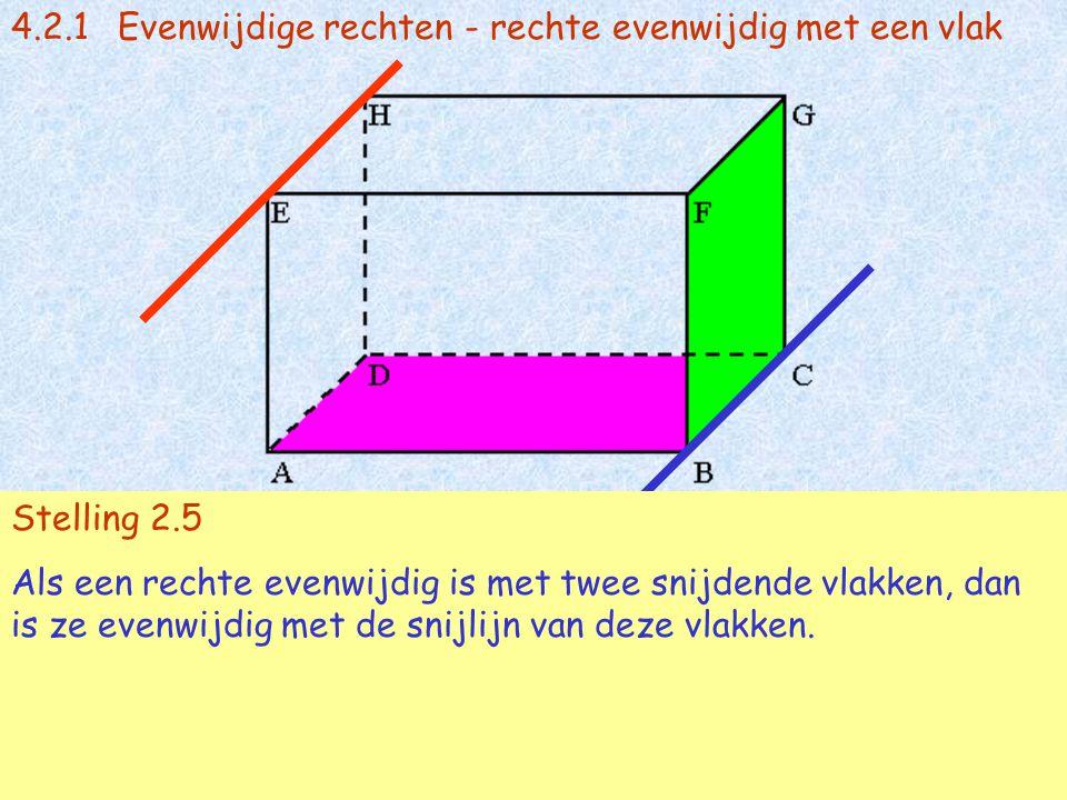4.2.1Evenwijdige rechten - rechte evenwijdig met een vlak EH // vl(BCG) en EH // vl(ABC)  AB // BC Stelling 2.5 Als een rechte evenwijdig is met twee