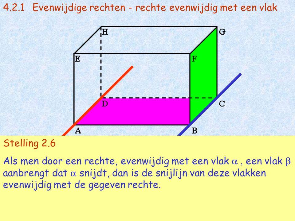 4.2.1Evenwijdige rechten - rechte evenwijdig met een vlak AD // vl(BCG) en AD  vl(ABC) met vl(ABC)  vl (BCG) = BC  AB // BC Stelling 2.6 Als men do