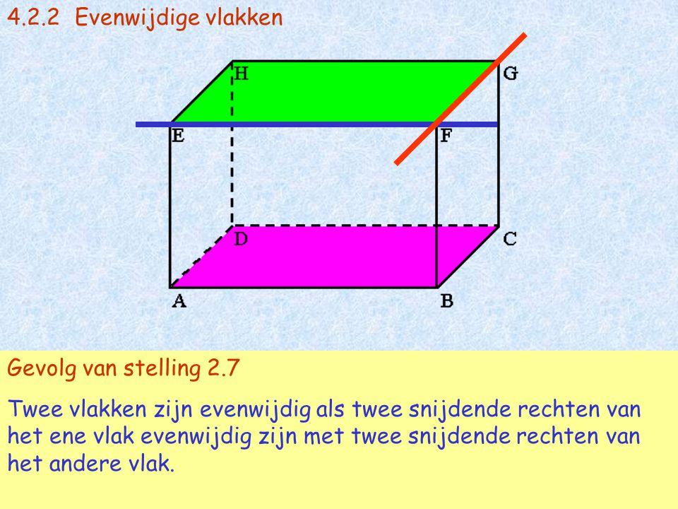 4.2.2Evenwijdige vlakken FG snijdt EF en FG  vl(EFG) en EF  vl(EFG) en FG // vl(ABC) en EF // vl(ABC)  vl(EFG) // vl(ABC) Stelling 2.7 Als twee sni