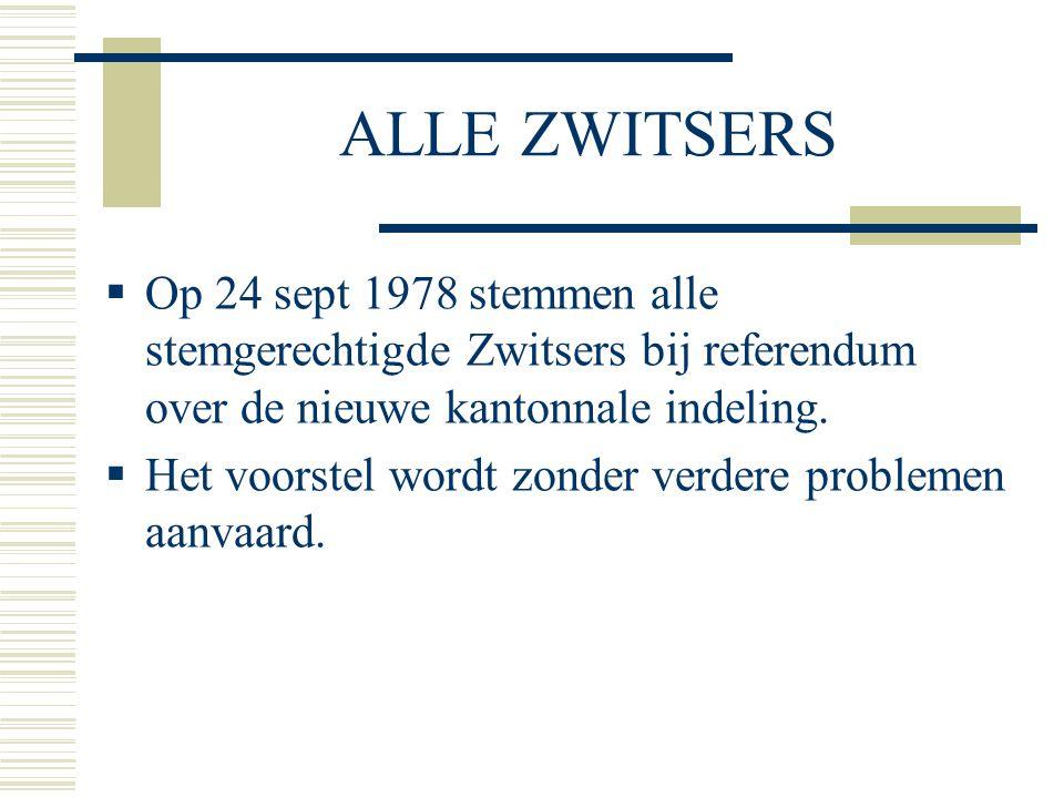 ALLE ZWITSERS  Op 24 sept 1978 stemmen alle stemgerechtigde Zwitsers bij referendum over de nieuwe kantonnale indeling.