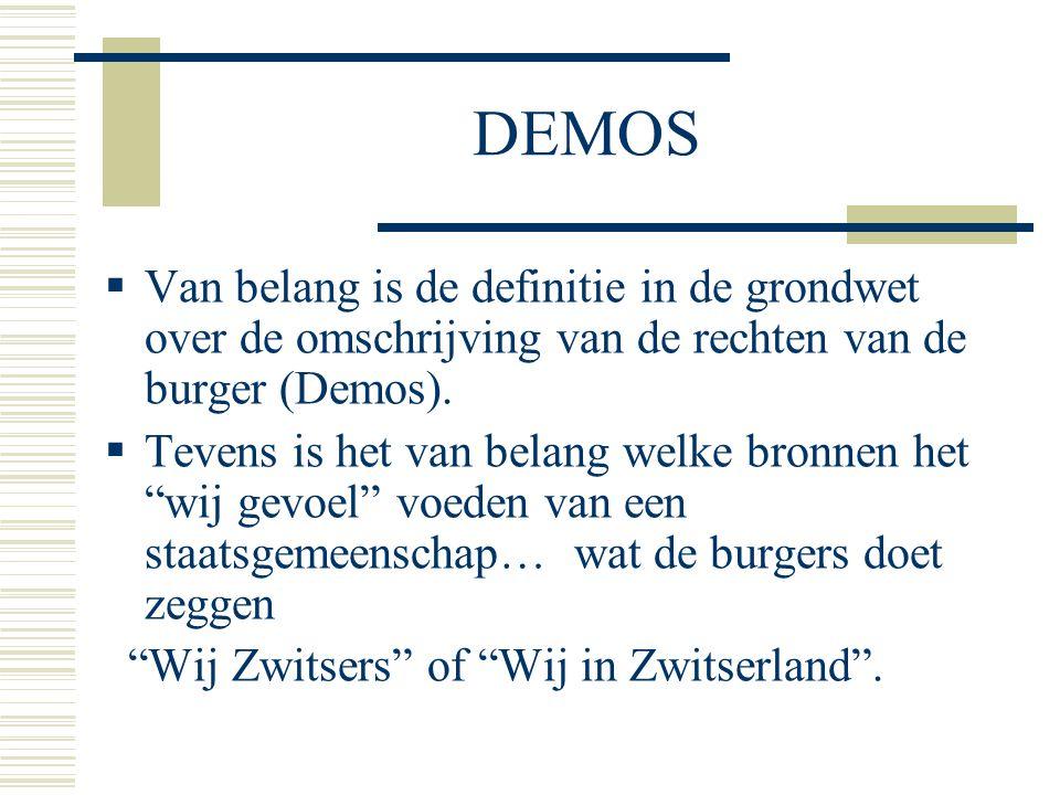 DEMOS  Van belang is de definitie in de grondwet over de omschrijving van de rechten van de burger (Demos).