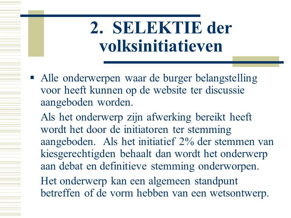 2. SELEKTIE der volksinitiatieven  Alle onderwerpen waar de burger belangstelling voor heeft kunnen op de website ter discussie aangeboden worden. Al