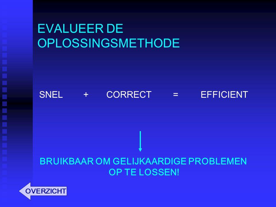 EVALUEER DE OPLOSSINGSMETHODE SNELCORRECTEFFICIENT BRUIKBAAR OM GELIJKAARDIGE PROBLEMEN OP TE LOSSEN! += OVERZICHT