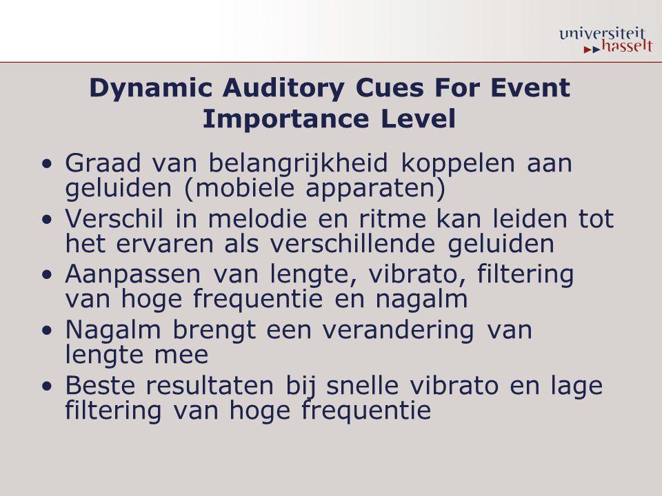 Dynamic Auditory Cues For Event Importance Level Graad van belangrijkheid koppelen aan geluiden (mobiele apparaten) Verschil in melodie en ritme kan leiden tot het ervaren als verschillende geluiden Aanpassen van lengte, vibrato, filtering van hoge frequentie en nagalm Nagalm brengt een verandering van lengte mee Beste resultaten bij snelle vibrato en lage filtering van hoge frequentie
