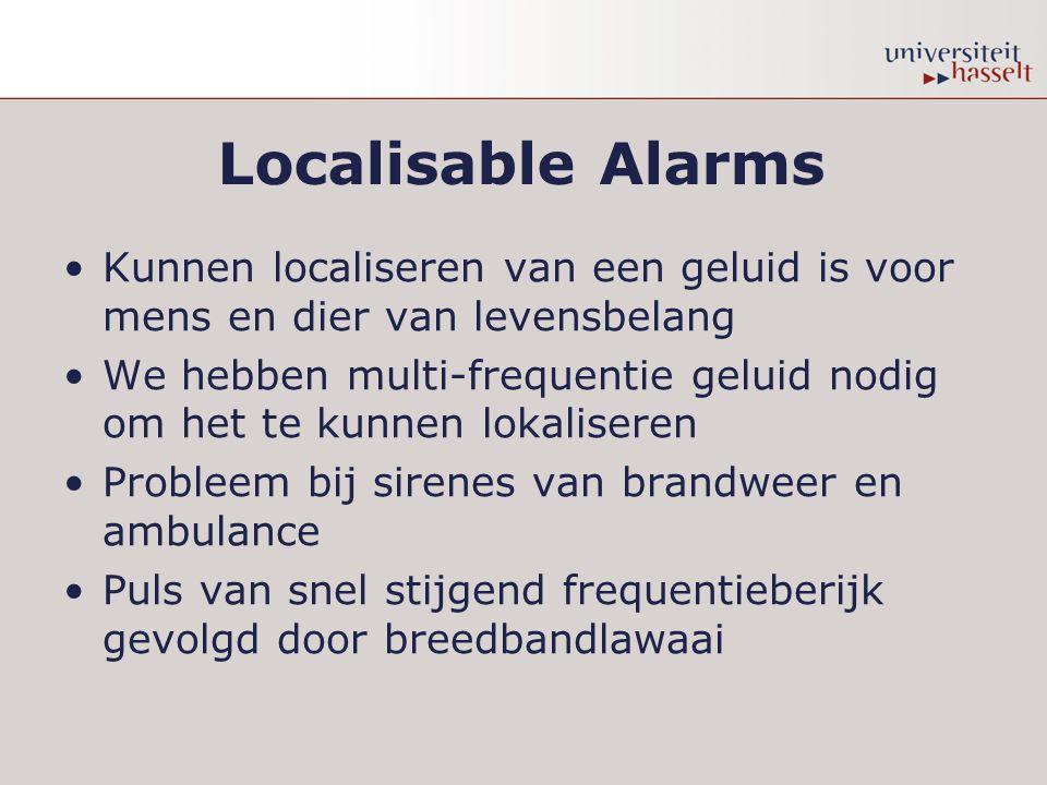 Localisable Alarms Kunnen localiseren van een geluid is voor mens en dier van levensbelang We hebben multi-frequentie geluid nodig om het te kunnen lokaliseren Probleem bij sirenes van brandweer en ambulance Puls van snel stijgend frequentieberijk gevolgd door breedbandlawaai