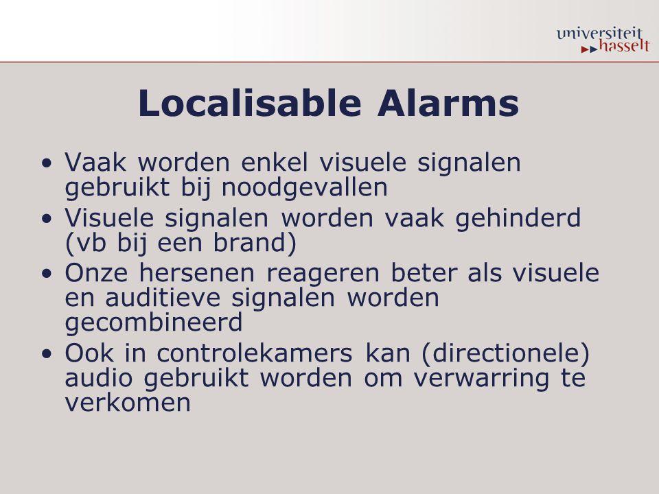 Localisable Alarms Vaak worden enkel visuele signalen gebruikt bij noodgevallen Visuele signalen worden vaak gehinderd (vb bij een brand) Onze hersenen reageren beter als visuele en auditieve signalen worden gecombineerd Ook in controlekamers kan (directionele) audio gebruikt worden om verwarring te verkomen