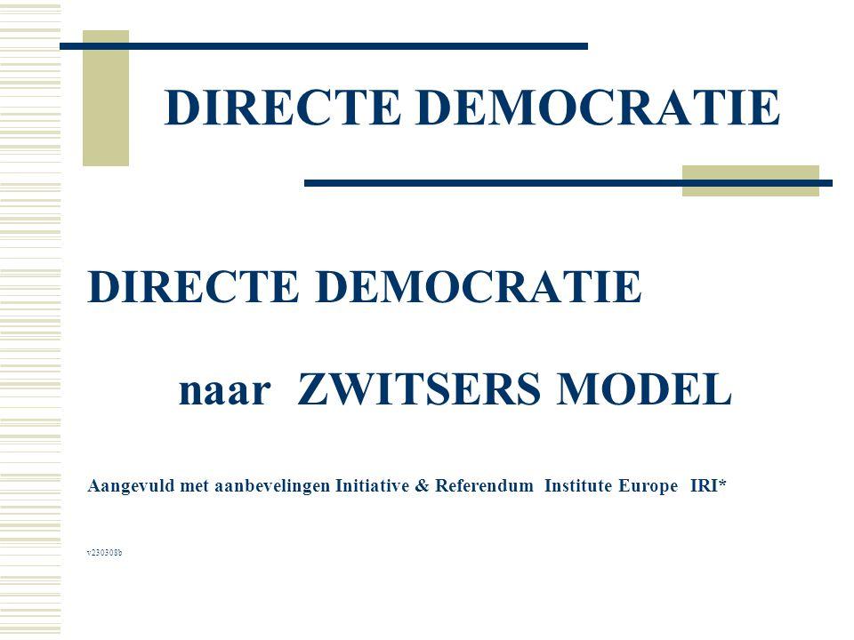DIRECTE DEMOCRATIE naar ZWITSERS MODEL Aangevuld met aanbevelingen Initiative & Referendum Institute Europe IRI* v230308b