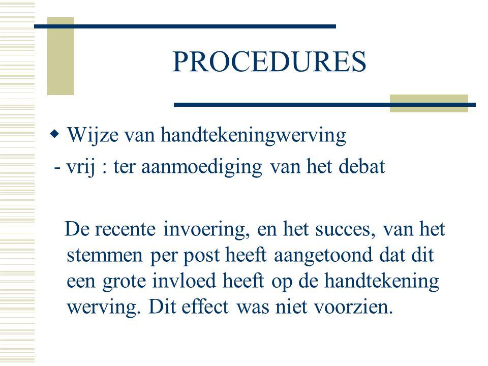 PROCEDURES  Wijze van handtekeningwerving - vrij : ter aanmoediging van het debat De recente invoering, en het succes, van het stemmen per post heeft