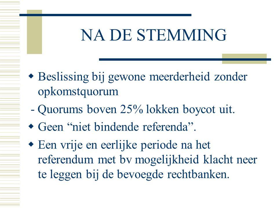 """NA DE STEMMING  Beslissing bij gewone meerderheid zonder opkomstquorum - Quorums boven 25% lokken boycot uit.  Geen """"niet bindende referenda"""".  Een"""