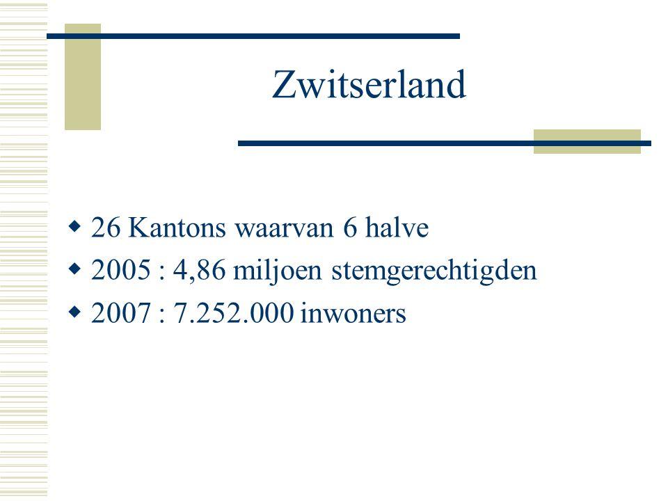 Zwitserland  26 Kantons waarvan 6 halve  2005 : 4,86 miljoen stemgerechtigden  2007 : 7.252.000 inwoners