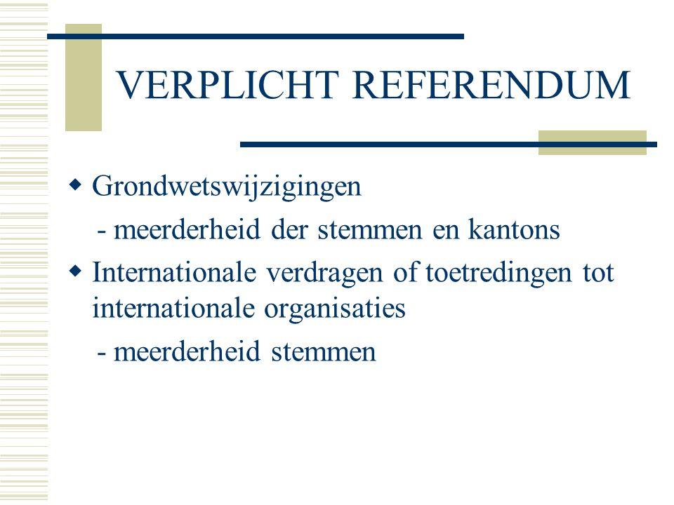 VERPLICHT REFERENDUM  Grondwetswijzigingen - meerderheid der stemmen en kantons  Internationale verdragen of toetredingen tot internationale organisaties - meerderheid stemmen