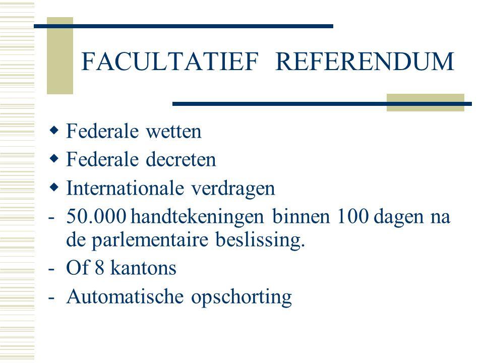 FACULTATIEF REFERENDUM  Federale wetten  Federale decreten  Internationale verdragen -50.000 handtekeningen binnen 100 dagen na de parlementaire beslissing.
