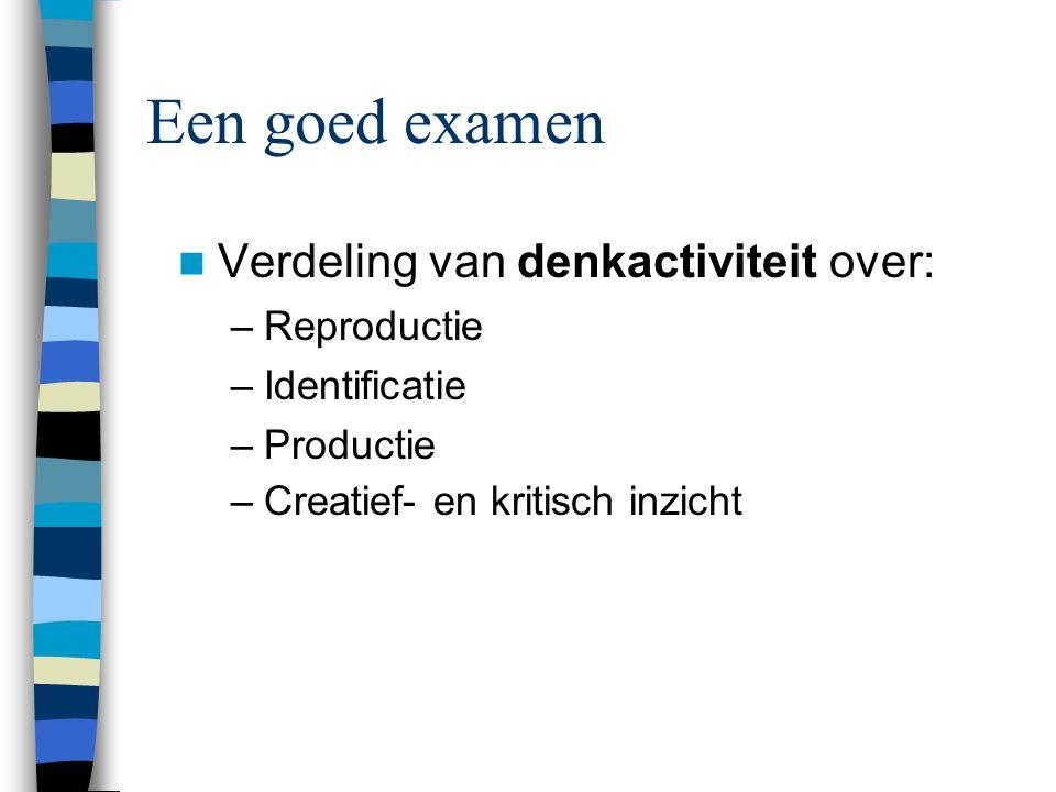 Beoordelingscriteria Een examen is een leerinstrument en door een (leer)inzage kunnen de resultaten snel gemotiveerd worden.