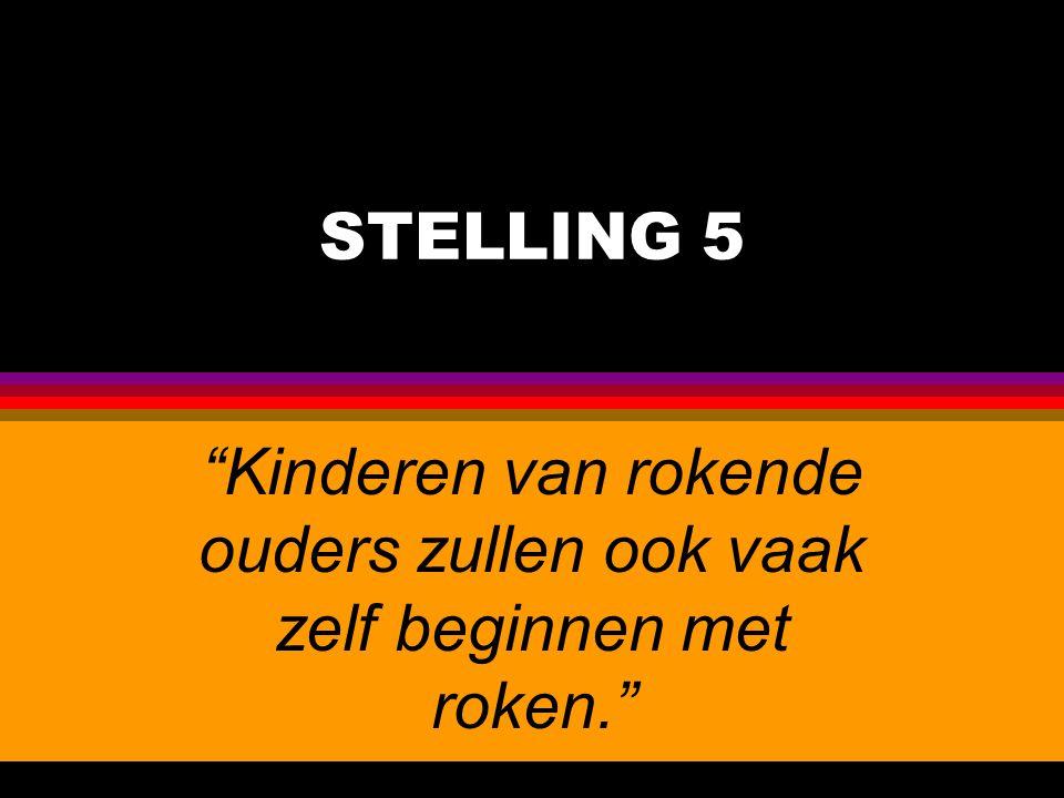 """STELLING 5 """"Kinderen van rokende ouders zullen ook vaak zelf beginnen met roken."""""""