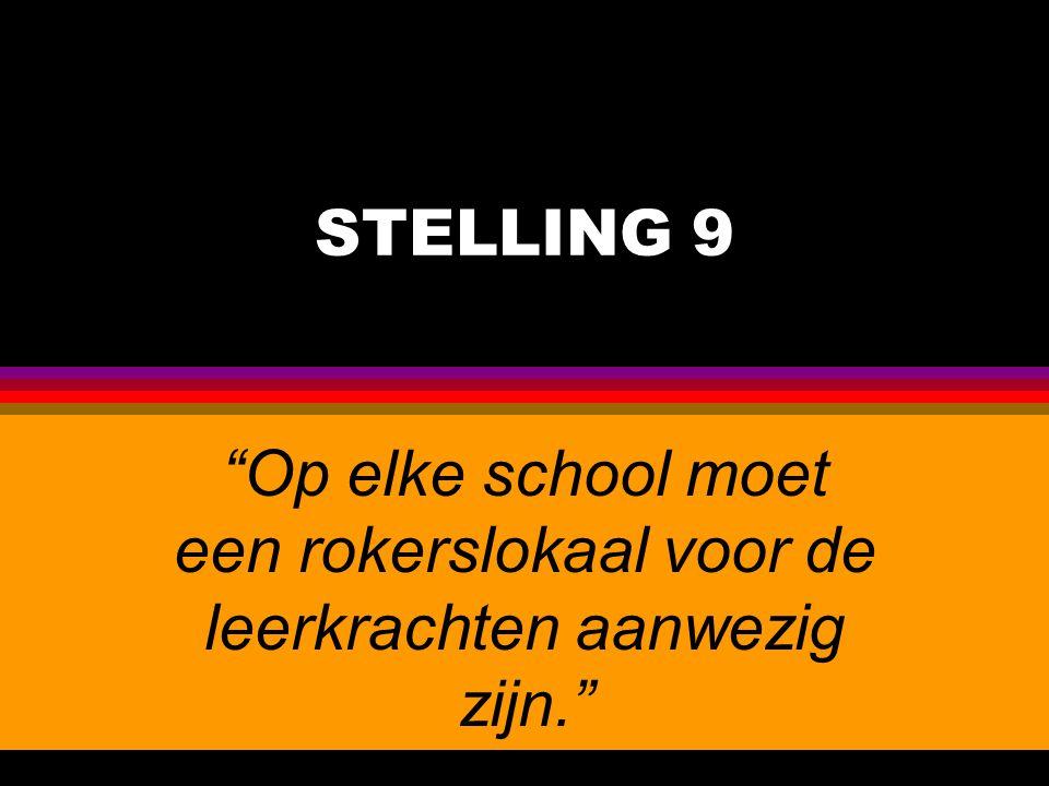 """STELLING 9 """"Op elke school moet een rokerslokaal voor de leerkrachten aanwezig zijn."""""""