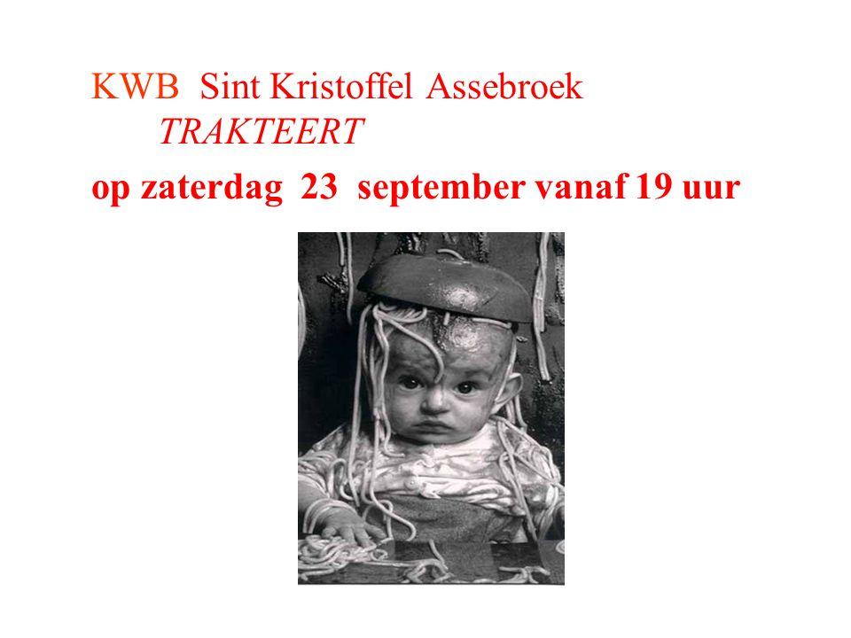 KWB Sint Kristoffel Assebroek TRAKTEERT op zaterdag 23 september vanaf 19 uur