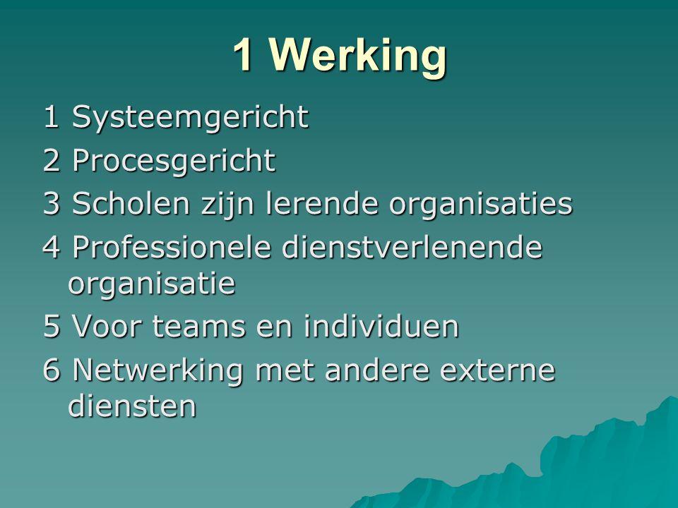 1 Werking 1 Systeemgericht 2 Procesgericht 3 Scholen zijn lerende organisaties 4 Professionele dienstverlenende organisatie 5 Voor teams en individuen