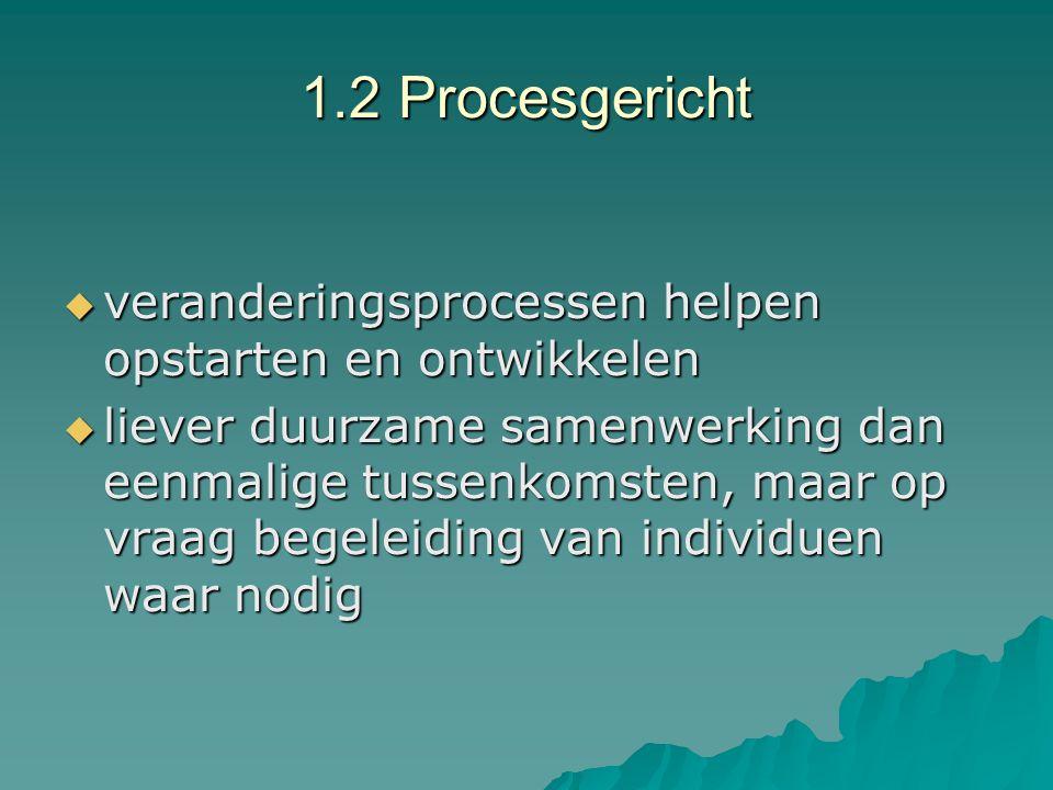 1.2 Procesgericht  veranderingsprocessen helpen opstarten en ontwikkelen  liever duurzame samenwerking dan eenmalige tussenkomsten, maar op vraag be