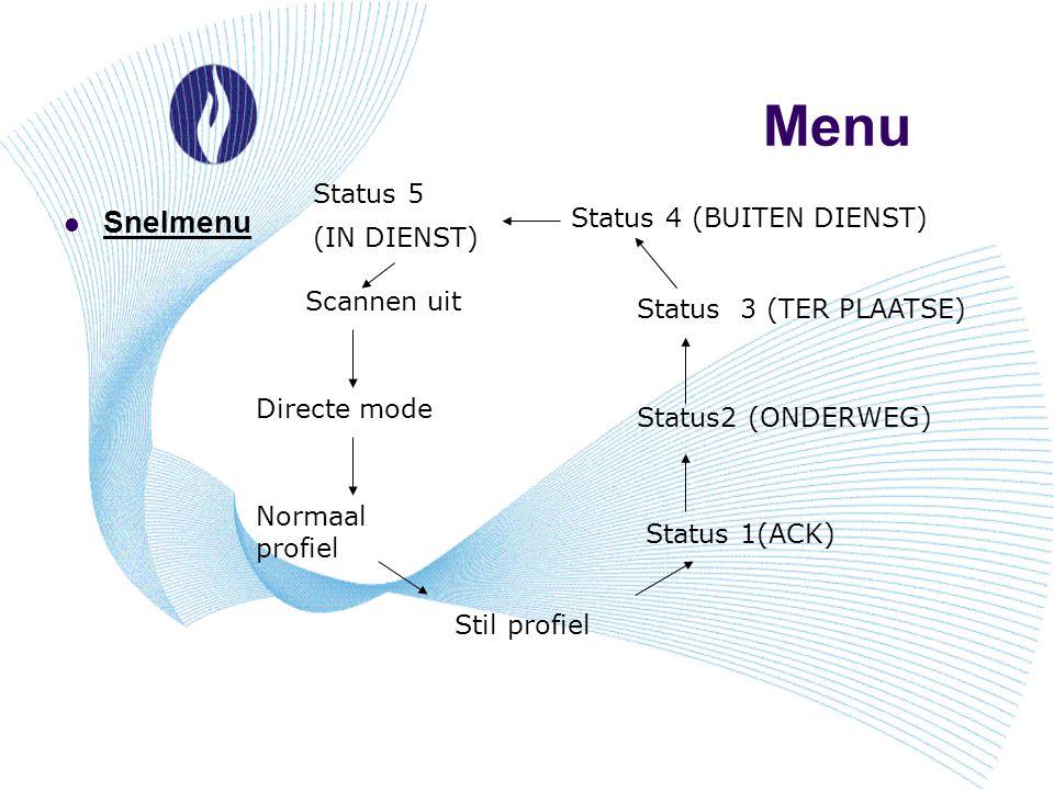 Menu Snelmenu Scannen uit Directe mode Normaal profiel Stil profiel Status 1(ACK) Status2 (ONDERWEG) Status 3 (TER PLAATSE) Status 4 (BUITEN DIENST) S