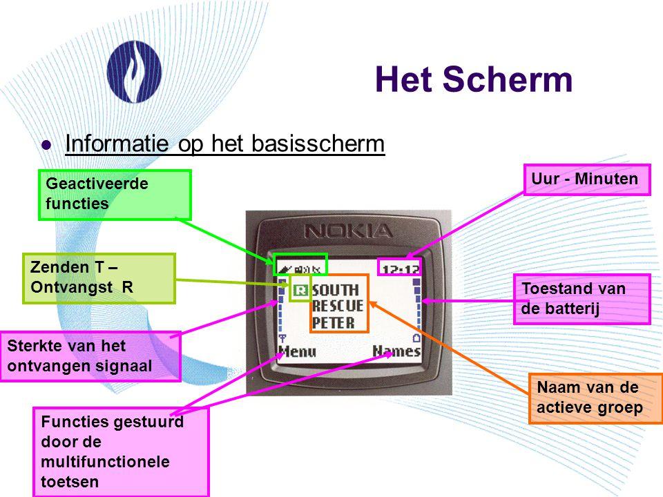 Het Scherm Informatie op het basisscherm Uur - Minuten Toestand van de batterij Sterkte van het ontvangen signaal Geactiveerde functies Functies gestu