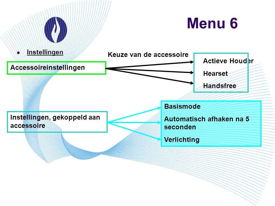 Menu 6 Instellingen Accessoireinstellingen Actieve Houder Hearset Handsfree Keuze van de accessoire Instellingen, gekoppeld aan accessoire Basismode A