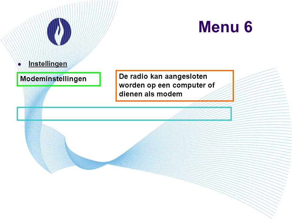 Menu 6 Instellingen Modeminstellingen De radio kan aangesloten worden op een computer of dienen als modem