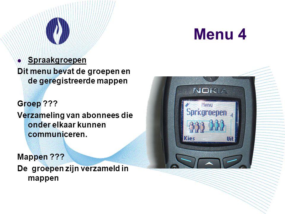 Menu 4 Spraakgroepen Dit menu bevat de groepen en de geregistreerde mappen Groep ??? Verzameling van abonnees die onder elkaar kunnen communiceren. Ma