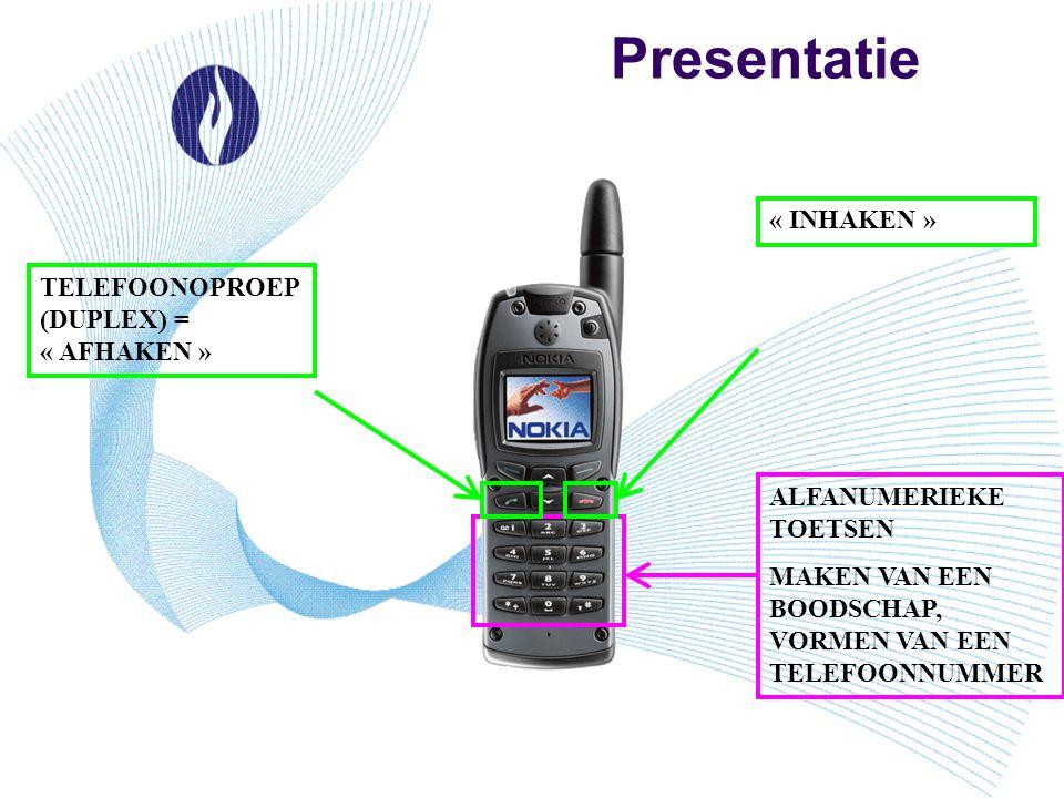 Presentatie ALFANUMERIEKE TOETSEN MAKEN VAN EEN BOODSCHAP, VORMEN VAN EEN TELEFOONNUMMER « INHAKEN » TELEFOONOPROEP (DUPLEX) = « AFHAKEN »