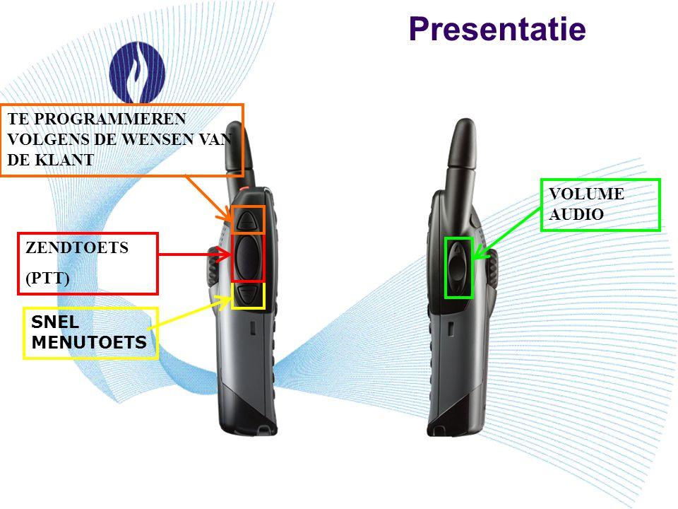 Presentatie VOLUME AUDIO SNEL MENUTOETS ZENDTOETS (PTT) TE PROGRAMMEREN VOLGENS DE WENSEN VAN DE KLANT