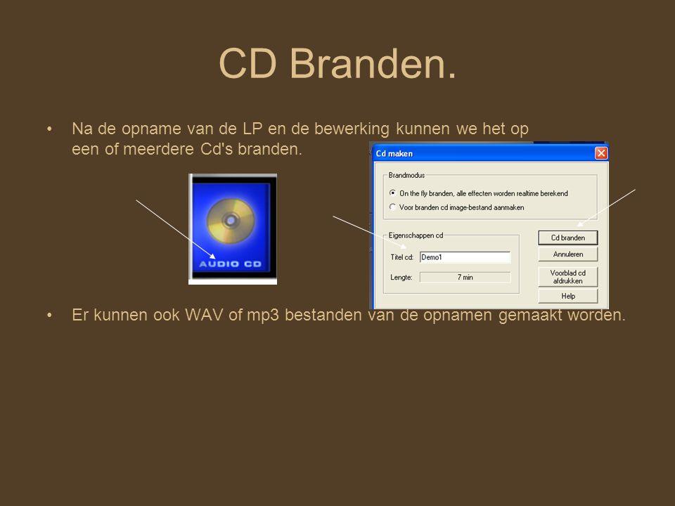 CD Branden. Na de opname van de LP en de bewerking kunnen we het op een of meerdere Cd s branden.