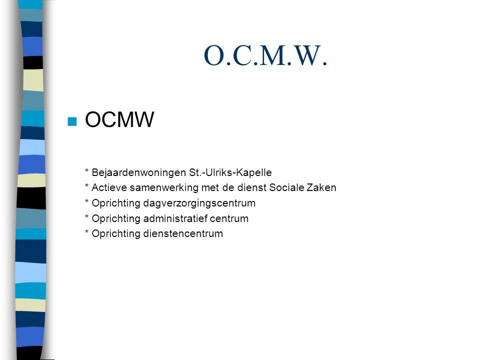 O.C.M.W. n OCMW * Bejaardenwoningen St.-Ulriks-Kapelle * Actieve samenwerking met de dienst Sociale Zaken * Oprichting dagverzorgingscentrum * Opricht