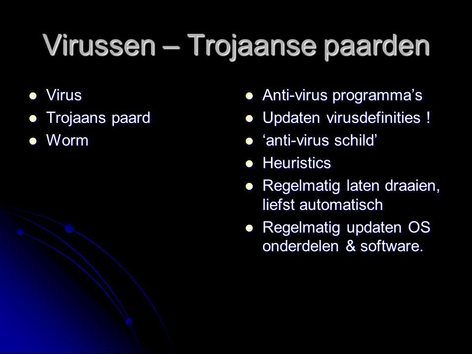 Virussen – Trojaanse paarden Virus Virus Trojaans paard Trojaans paard Worm Worm Anti-virus programma's Anti-virus programma's Updaten virusdefinities