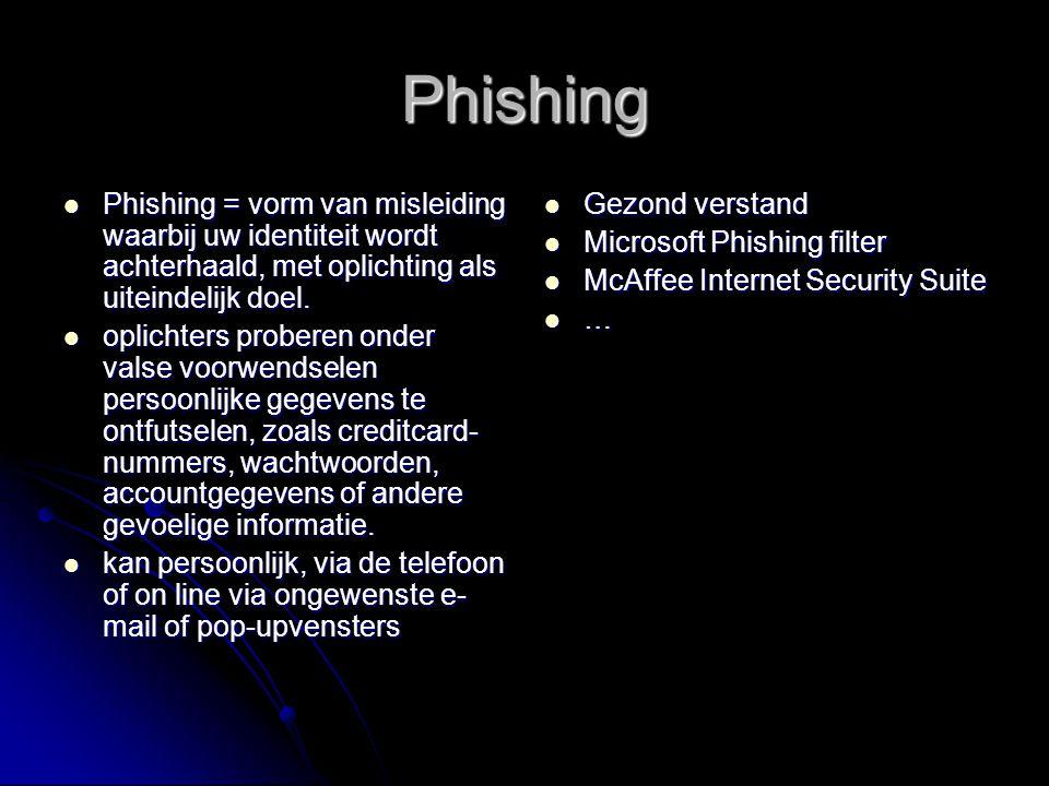 Phishing Phishing = vorm van misleiding waarbij uw identiteit wordt achterhaald, met oplichting als uiteindelijk doel. Phishing = vorm van misleiding