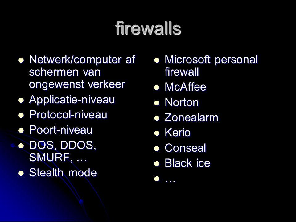 firewalls Netwerk/computer af schermen van ongewenst verkeer Netwerk/computer af schermen van ongewenst verkeer Applicatie-niveau Applicatie-niveau Pr