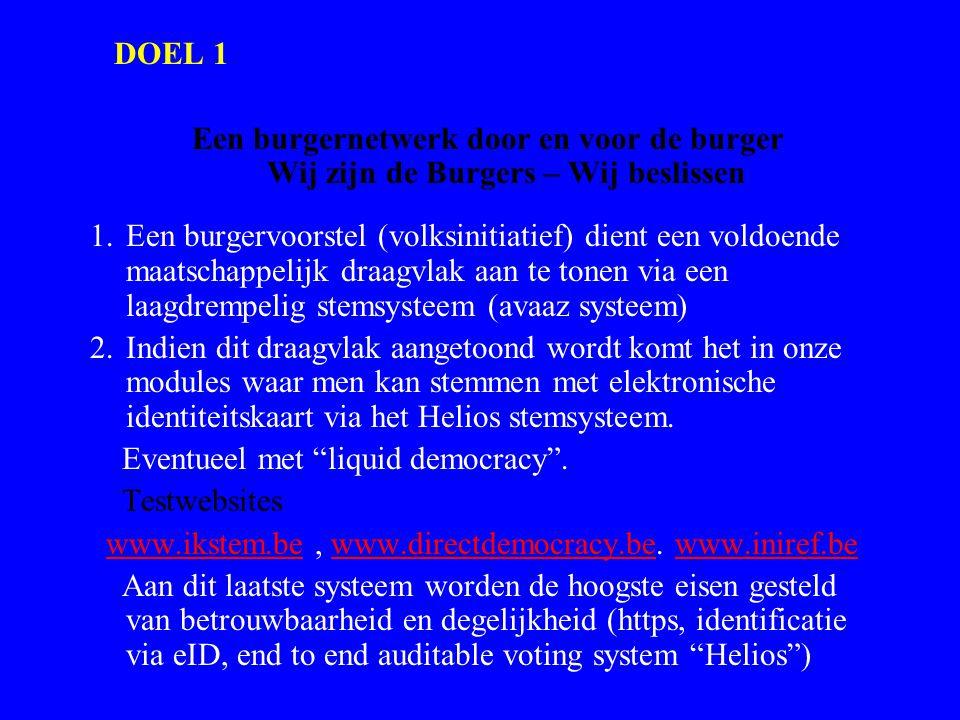 DOEL 1 Een burgernetwerk door en voor de burger Wij zijn de Burgers – Wij beslissen 1.Een burgervoorstel (volksinitiatief) dient een voldoende maatsch