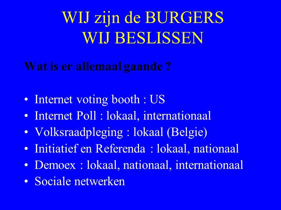 WIJ zijn de BURGERS WIJ BESLISSEN Wat is er allemaal gaande ? Internet voting booth : US Internet Poll : lokaal, internationaal Volksraadpleging : lok