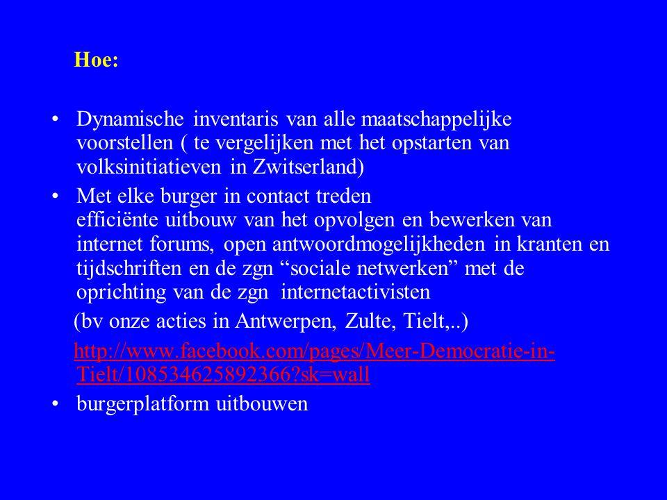 Hoe: Dynamische inventaris van alle maatschappelijke voorstellen ( te vergelijken met het opstarten van volksinitiatieven in Zwitserland) Met elke bur