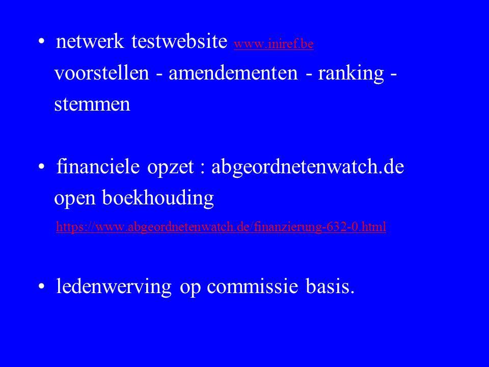 netwerk testwebsite www.iniref.be www.iniref.be voorstellen - amendementen - ranking - stemmen financiele opzet : abgeordnetenwatch.de open boekhoudin
