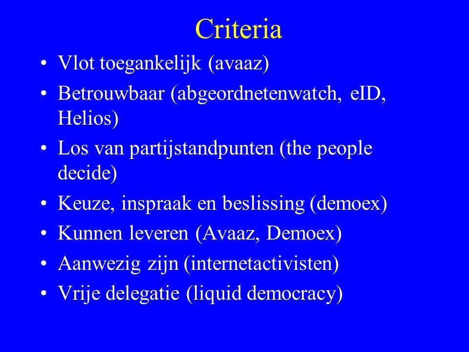 Criteria Vlot toegankelijk (avaaz) Betrouwbaar (abgeordnetenwatch, eID, Helios) Los van partijstandpunten (the people decide) Keuze, inspraak en besli