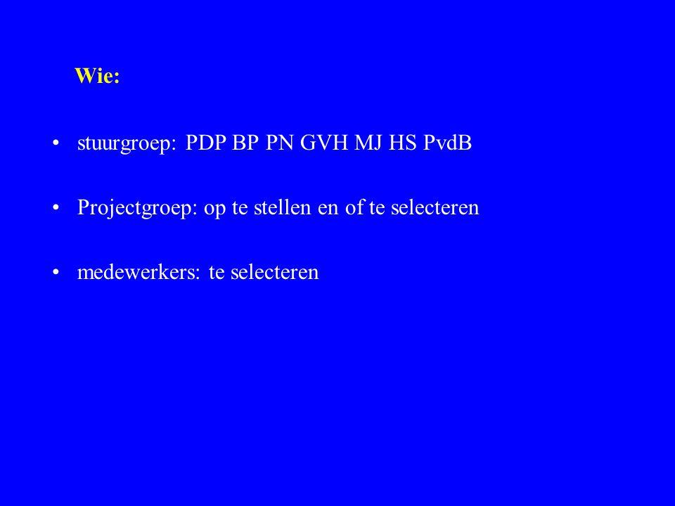 Wie: stuurgroep: PDP BP PN GVH MJ HS PvdB Projectgroep: op te stellen en of te selecteren medewerkers: te selecteren