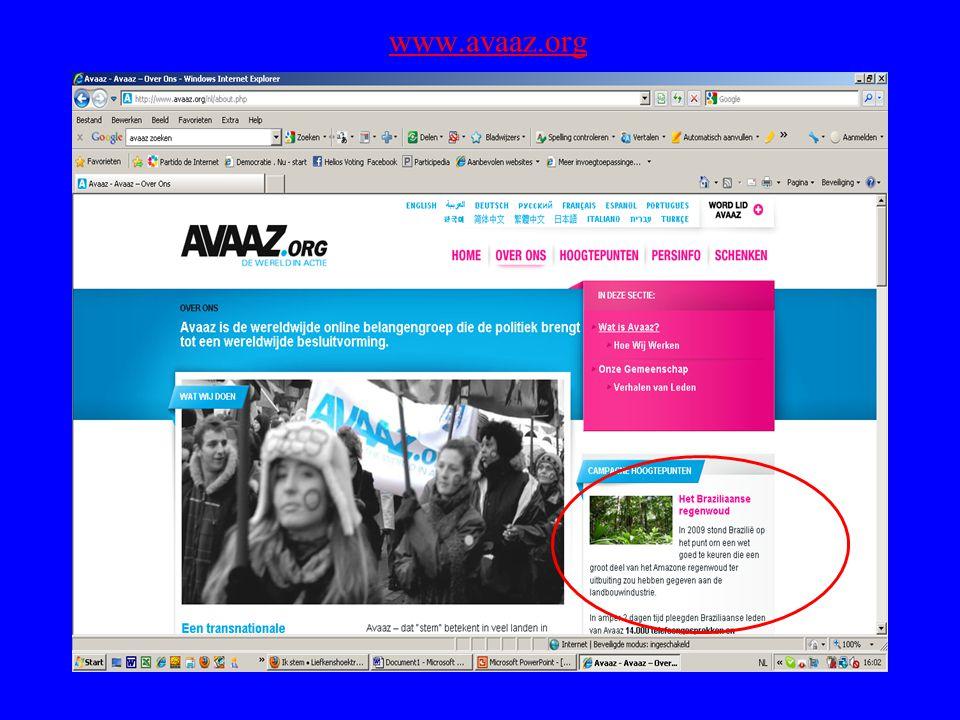 - Internet voting booth : US (The People Decide) - Internet Poll : lokaal, internationaal (Avaaz) Vergelijking : The People Decide The People decide is zeer degelijk, informatief, uitgebreid en arbeidsintensief.
