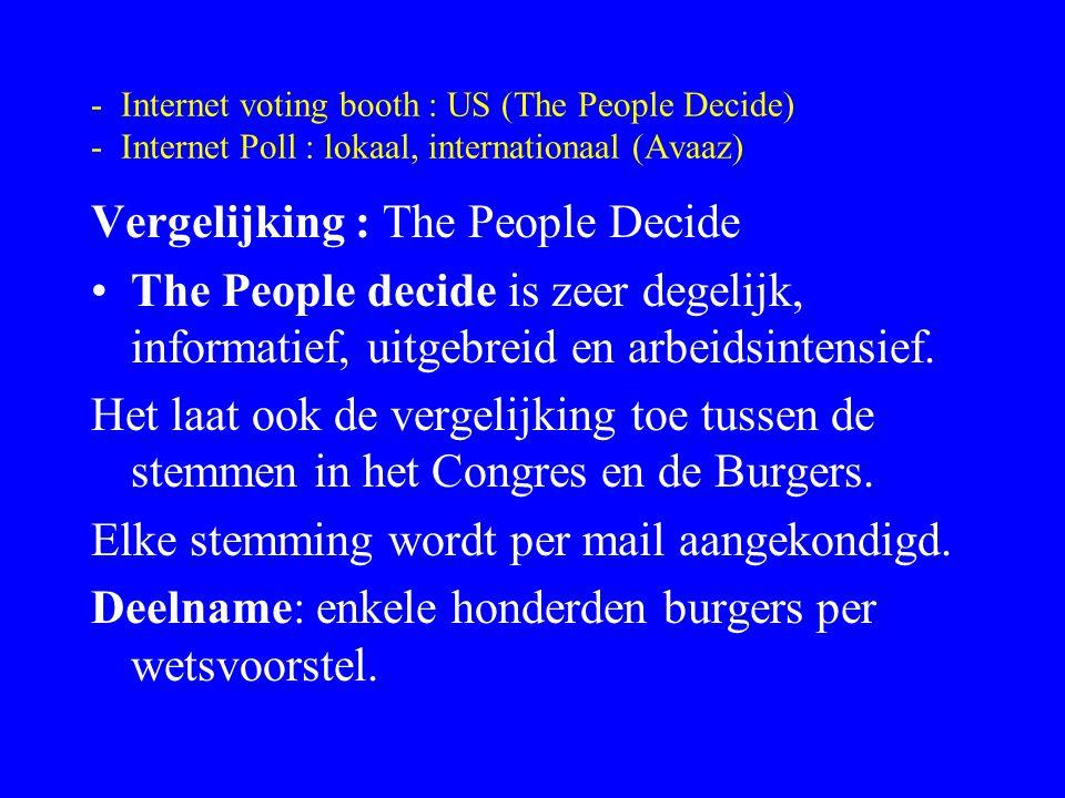 - Internet voting booth : US (The People Decide) - Internet Poll : lokaal, internationaal (Avaaz) Vergelijking : Avaaz Avaaz is zeer gebruiksvriendelijk, eens geregistreerd hoeft men om te stemmen slechts zijn emailadres in te tikken.