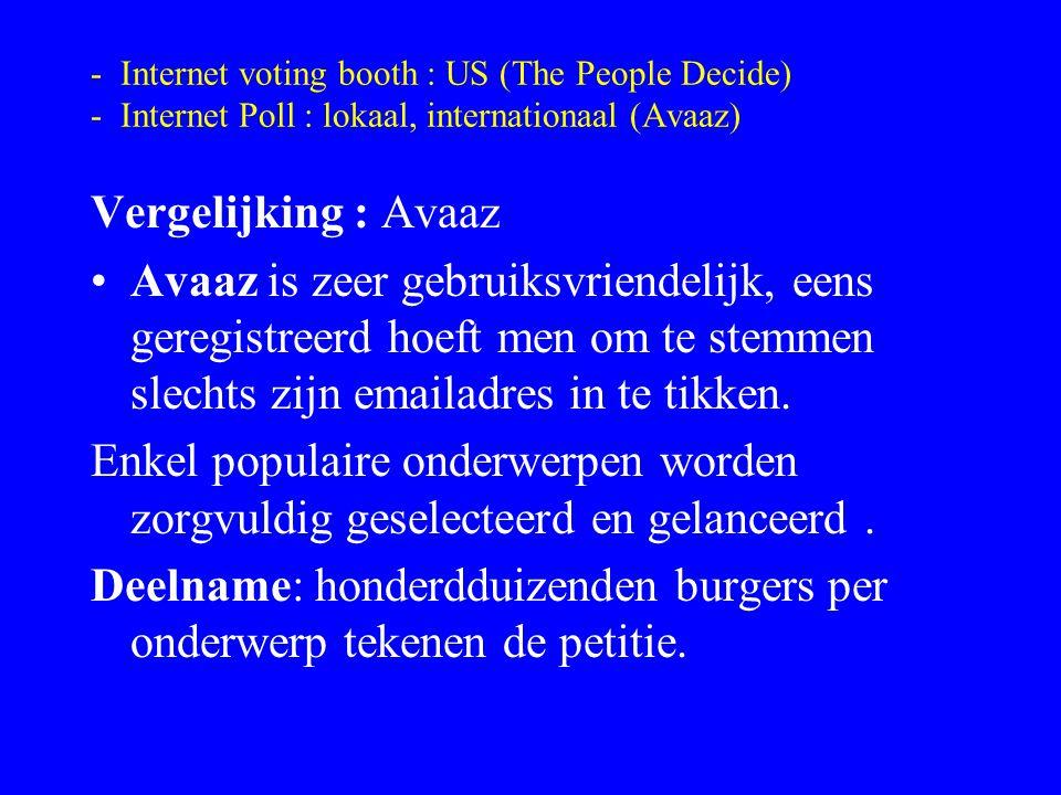 - Internet voting booth : US (The People Decide) - Internet Poll : lokaal, internationaal (Avaaz) Vergelijking : Avaaz Avaaz is zeer gebruiksvriendeli