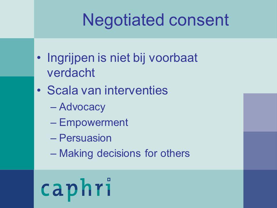 Ingrijpen is niet bij voorbaat verdacht Scala van interventies –Advocacy –Empowerment –Persuasion –Making decisions for others