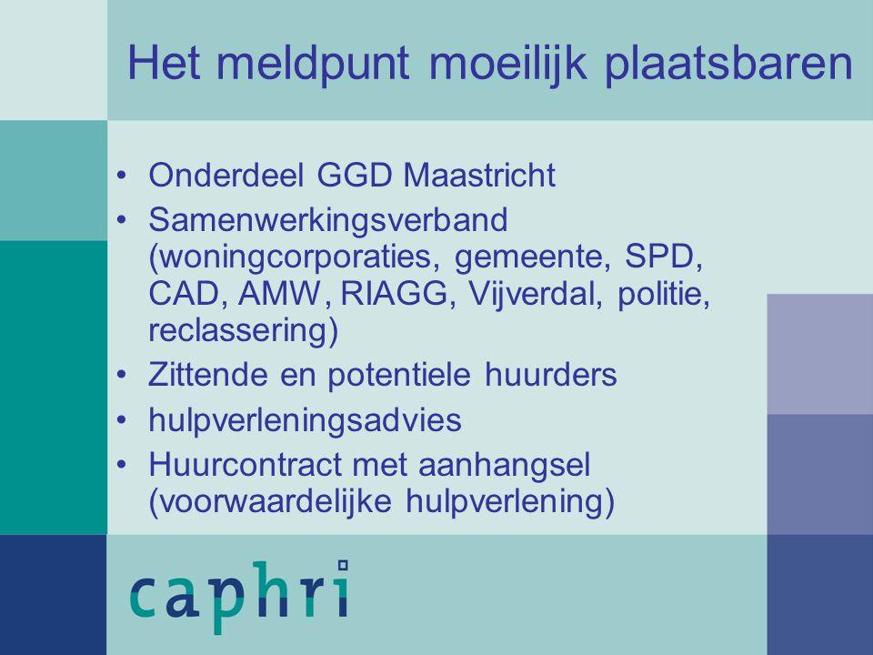 Het meldpunt moeilijk plaatsbaren Onderdeel GGD Maastricht Samenwerkingsverband (woningcorporaties, gemeente, SPD, CAD, AMW, RIAGG, Vijverdal, politie