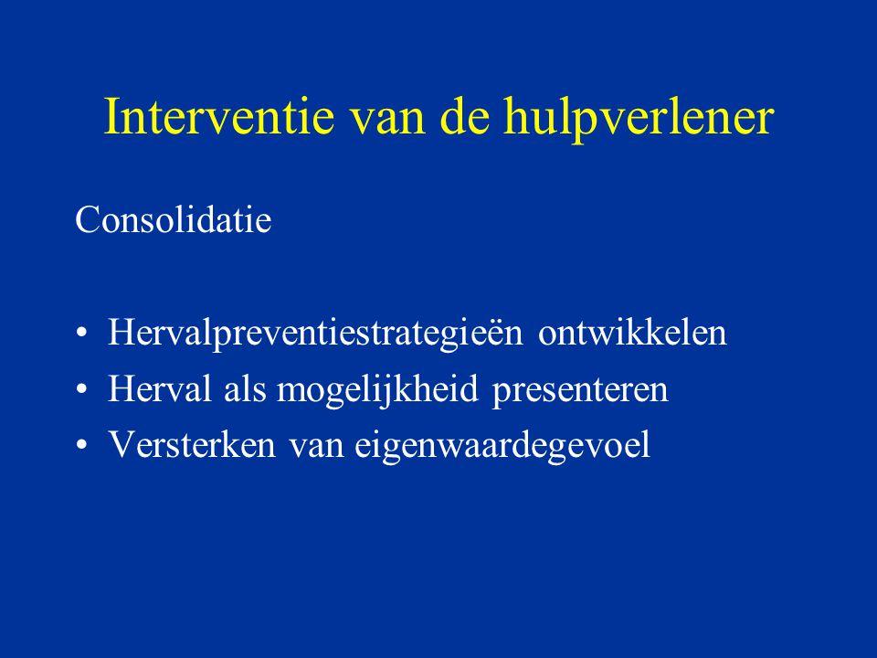 Interventie van de hulpverlener Consolidatie Hervalpreventiestrategieën ontwikkelen Herval als mogelijkheid presenteren Versterken van eigenwaardegevo